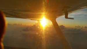 Sunrise during mission flight to Tampa.